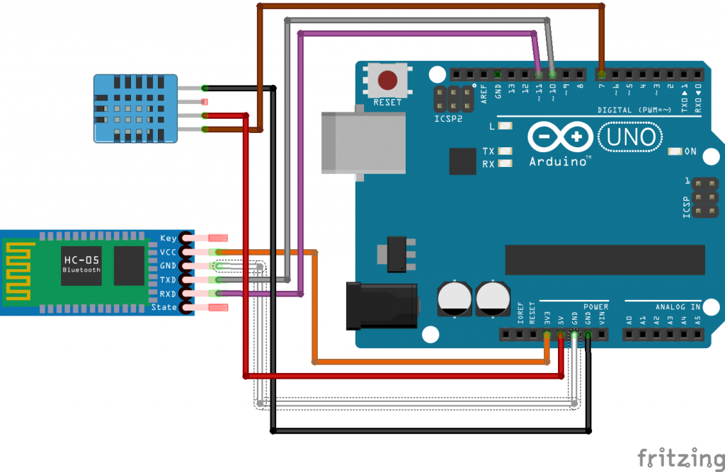 Arduino temperature and bluetooth wireless communication